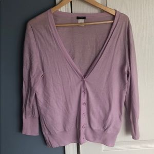 J Crew v neck lilac cardigan size L 3/4 sleeves